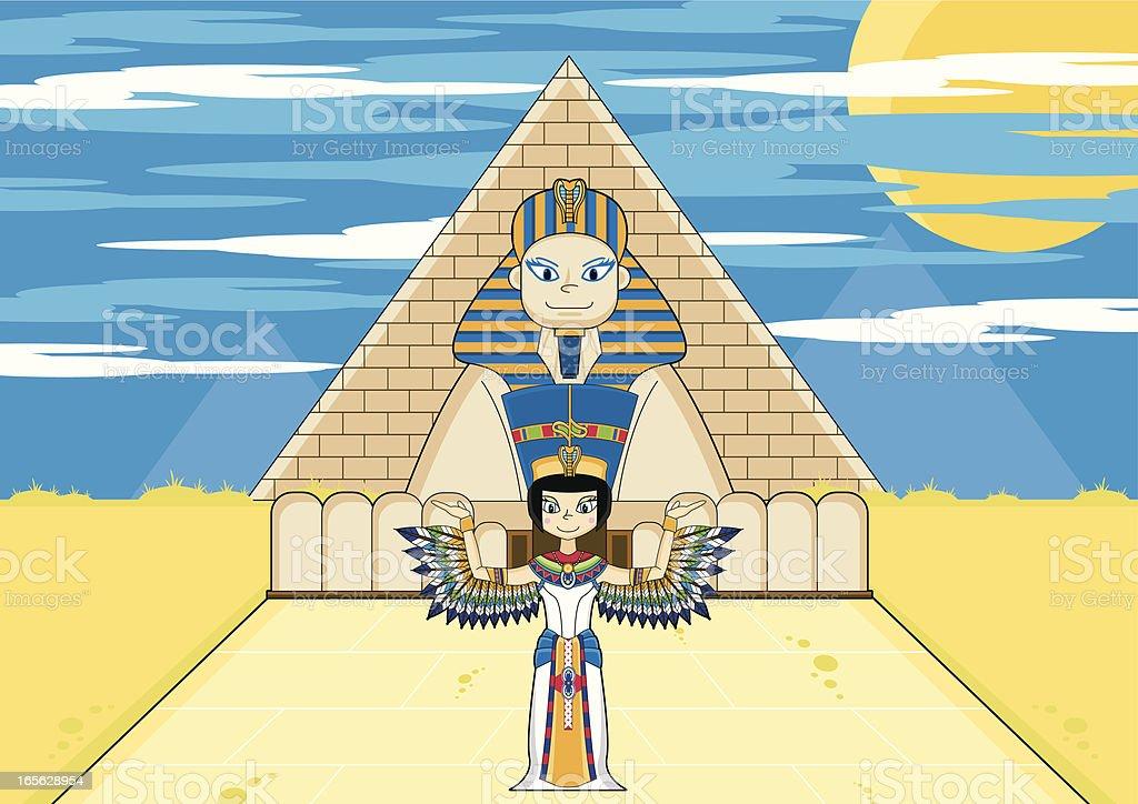 Winged Nefertiti with Sphinx & Pyramid vector art illustration