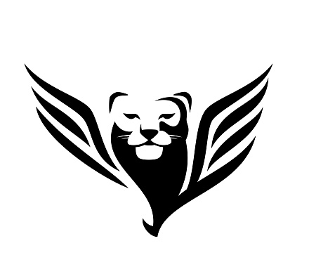 winged panther head simple black and white vector design