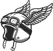 Winged racer helmet on white background. Design element for  label, emblem, sign. Vector image