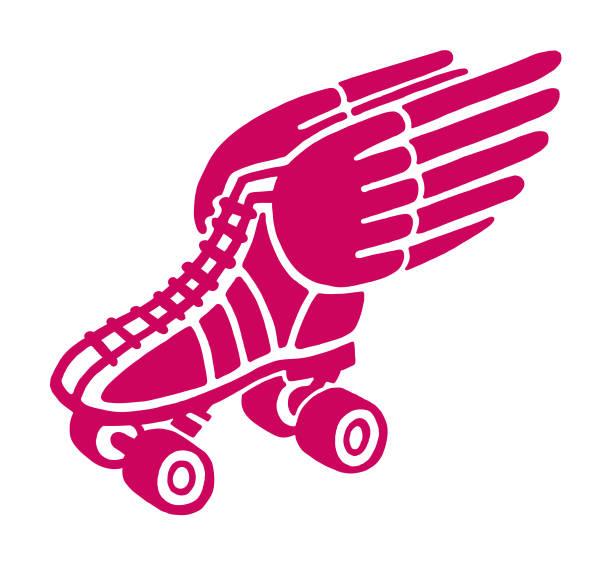 winged roller skate - rollschuh stock-grafiken, -clipart, -cartoons und -symbole