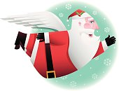 winged santa claus waving