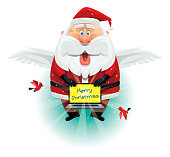 winged santa claus with laptop