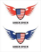winged shield, winged American flag.