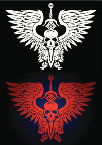 winged skull emblem