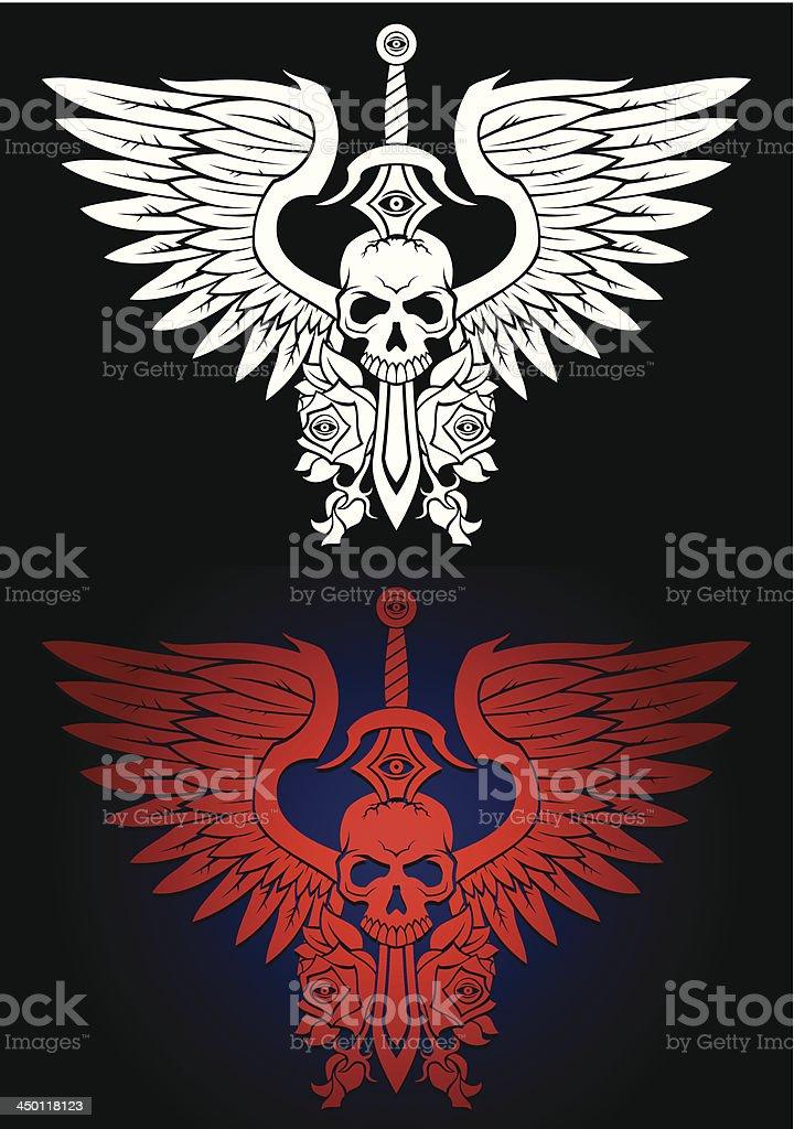 Caveira com asas emblema - ilustração de arte em vetor
