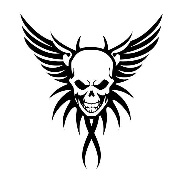 Winged skull symbol vector art illustration