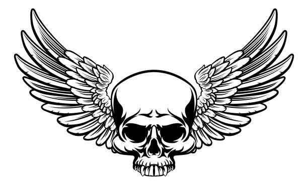 ilustraciones, imágenes clip art, dibujos animados e iconos de stock de con alas cráneo - tatuajes de ángeles