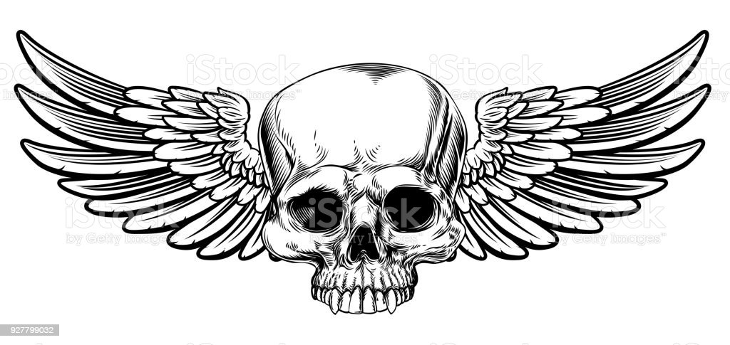Winged Skull Vintage Etched Woodcut Style vector art illustration