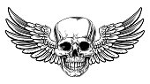 Winged Skull Vintage Woodcut Etched Style