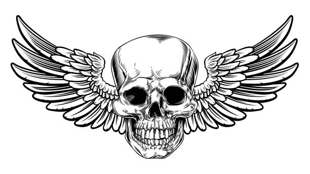 Winged Skull Vintage Woodcut Etched Style vector art illustration