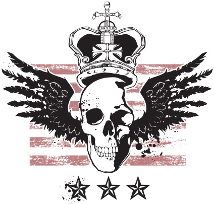 Winged Skull with Crown, Stripes, and Stars