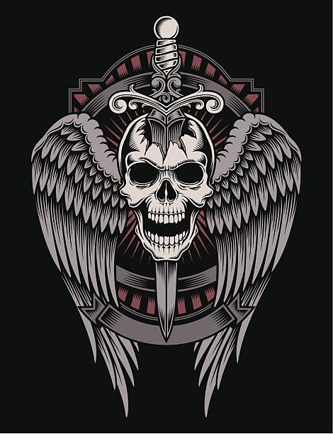Crâne ailé avec épée bloqué - Illustration vectorielle