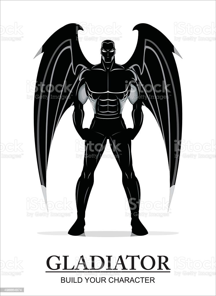 winged standing man