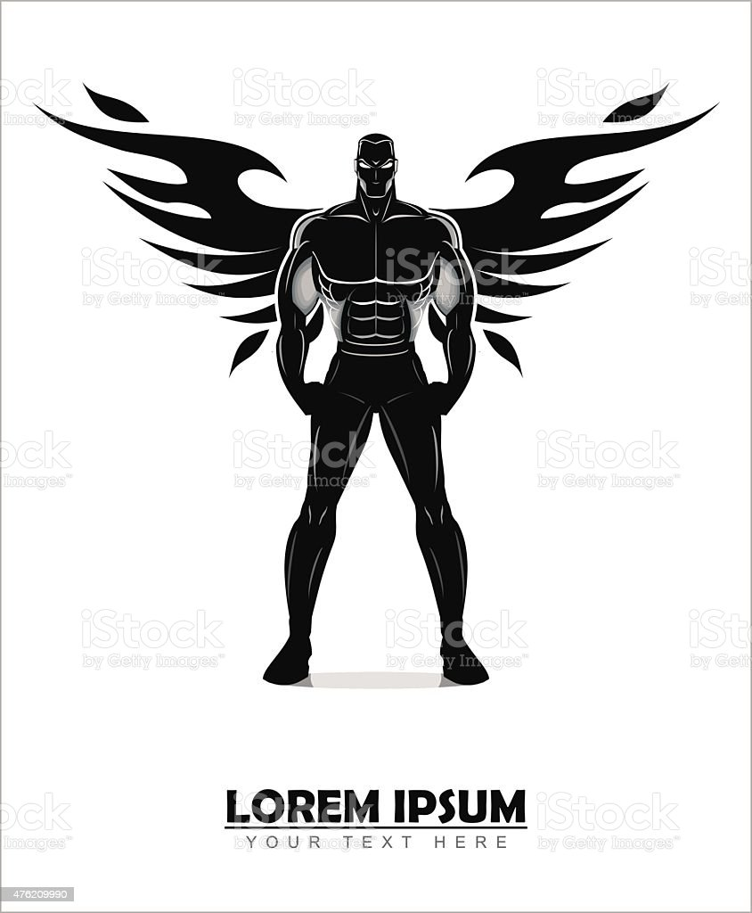 winged standing man. winged human silhouette.