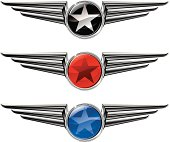 Vector illustration of three winged chromed emblems with stars in shiny circles. Stars are black-and-white, red, and blue.