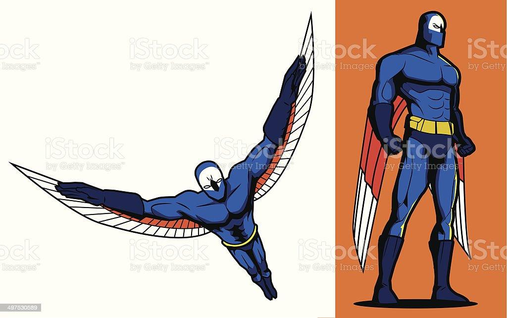 翼のスーパーヒーロー ベクターアートイラスト