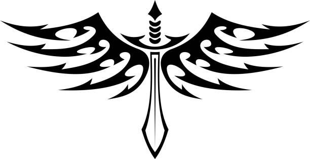 殺陣に翼のタトゥーフェザーズバーブ付き - 短剣のタトゥー点のイラスト素材/クリップアート素材/マンガ素材/アイコン素材