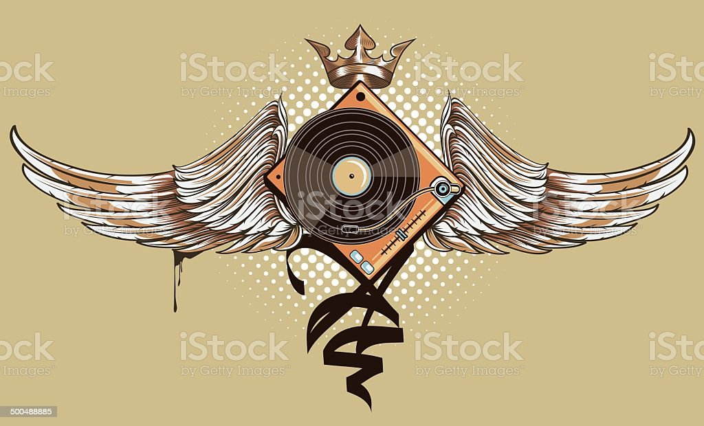Winged turntable vector art illustration