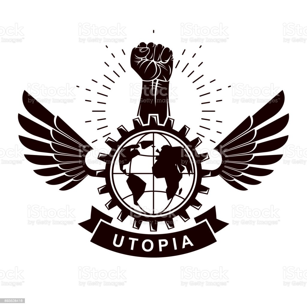 Winged vector emblem composed with raised fist holding earth winged vector emblem composed with raised fist holding earth planet symbol surrounded with cog wheel circle biocorpaavc