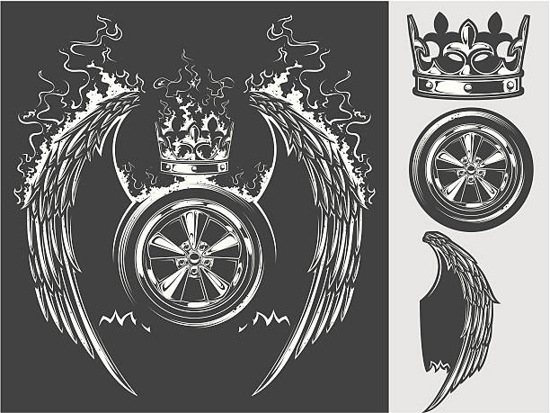 winged wheel - fire tattoos stock illustrations, clip art, cartoons, & icons