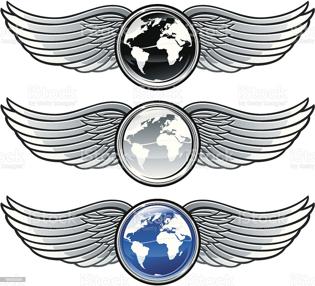 Winged world glossy emblems royalty-free stock vector art