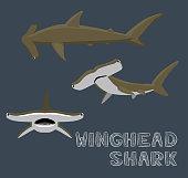 Winghead Shark Cartoon Vector Illustration