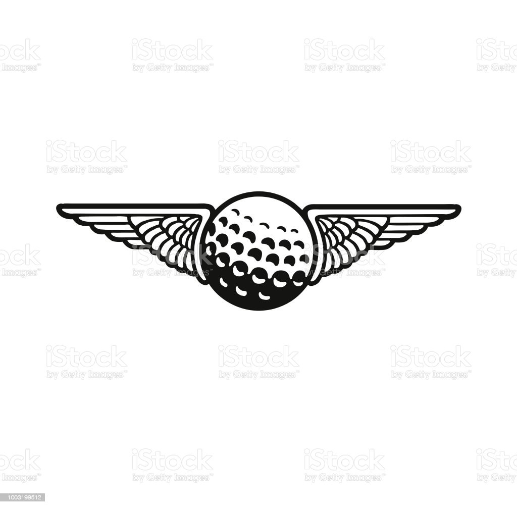 Wings and a Golf Ball Wings and a Golf Ball Black And White stock vector