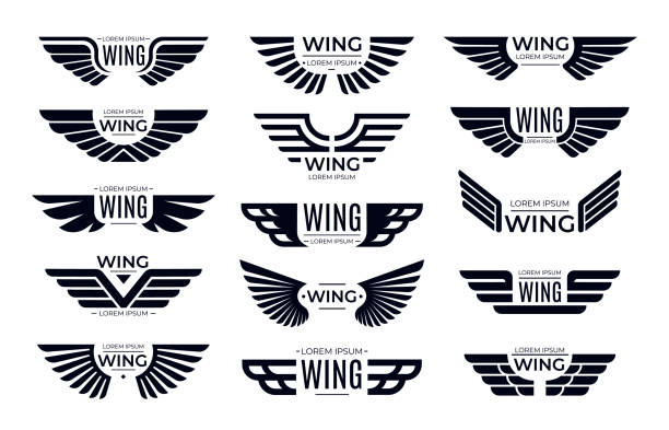 wings badges. flying emblem, eagle bird wing and winged frame vector set - animal wing stock illustrations