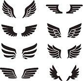 Wings black icons vector set. Minimalistic design.