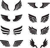 Wings black icons vector set. Minimalistic design.