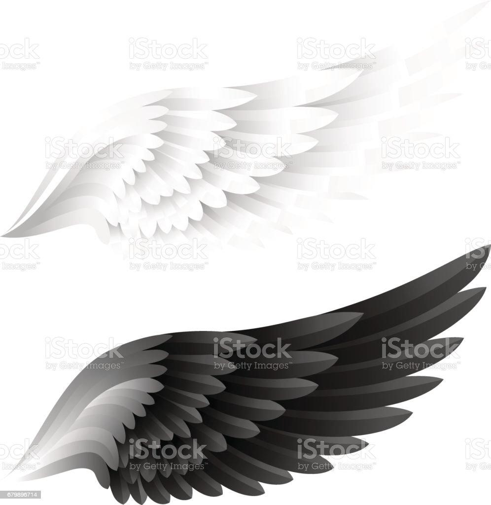 Alas de colección. Variante de color blanco y negro. Ilustración de vector. - ilustración de arte vectorial