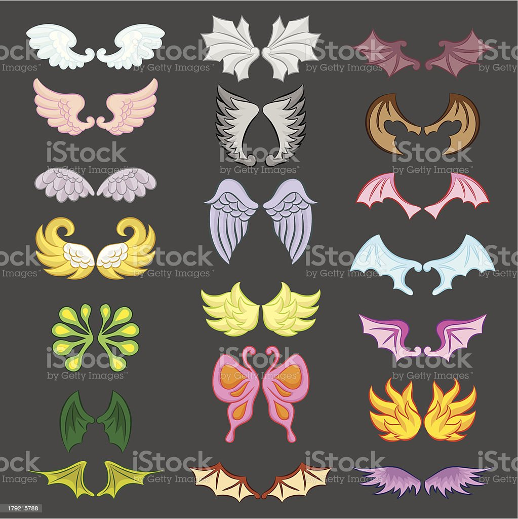 Wings Cute Collection Part III vector art illustration