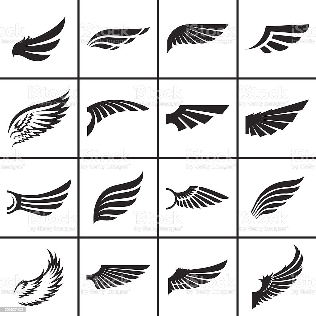 Wings design elements set vector art illustration
