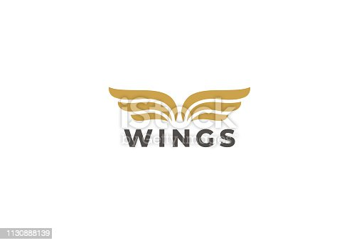 Wings Emblem Vector Design Template. Delivery, business, cargo, success, money, deal, contract, team, cooperation symbol.