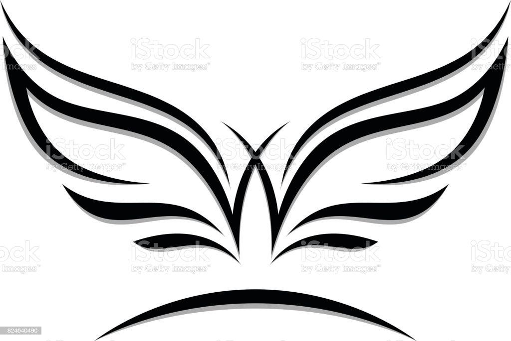 Emblema alas - ilustración de arte vectorial