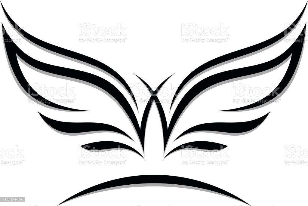 Wings emblem vector art illustration