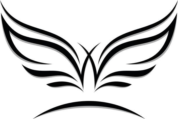 wings emblem - angels tattoos stock illustrations, clip art, cartoons, & icons