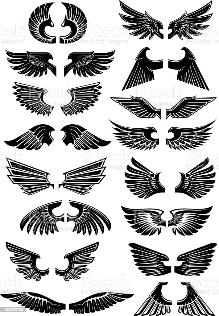 Wings heraldic icons symbols - Illustration vectorielle