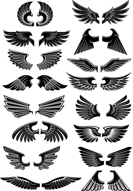 wings heraldic icons symbols - vogel tattoos stock-grafiken, -clipart, -cartoons und -symbole