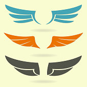 Wings icon set. Vector illustration of different colorful bird wings.