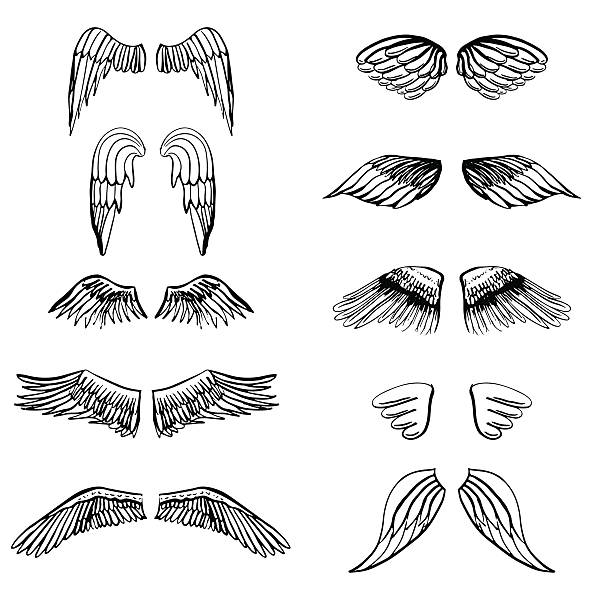 wings illustration silhouettes set for making your own badge, label - angels tattoos stock illustrations, clip art, cartoons, & icons