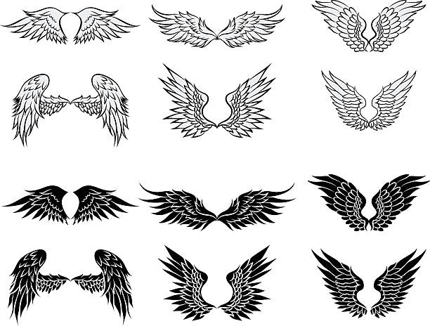 illustrations, cliparts, dessins animés et icônes de ailes illustration - tatouages d'anges