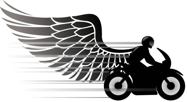 wings of motorcycle vector art illustration