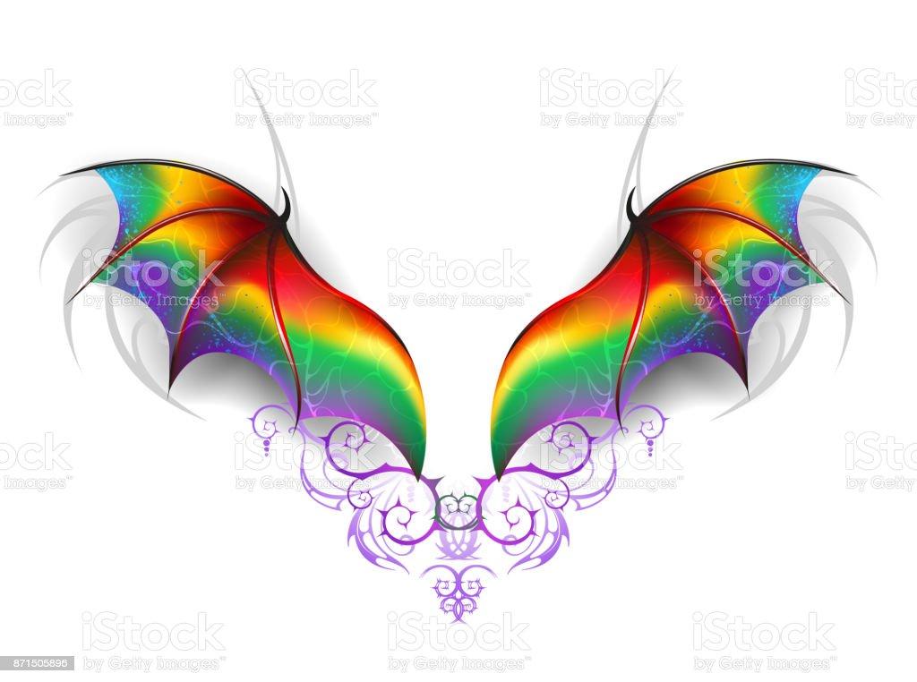 Flügel Des Regenbogendrache Stock Vektor Art und mehr Bilder von ...