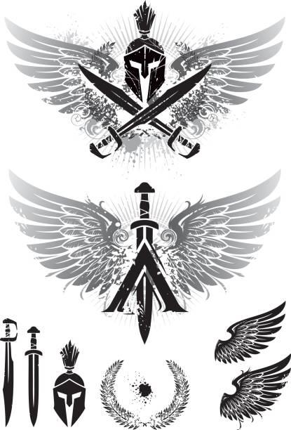 ilustraciones, imágenes clip art, dibujos animados e iconos de stock de alas de esparta - tatuajes de espadas