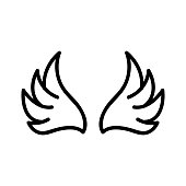 Wings of the angel icon vector. Thin line sign. Isolated contour symbol illustration