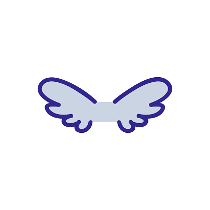 Wings of the angel icon vector. Isolated contour symbol illustration