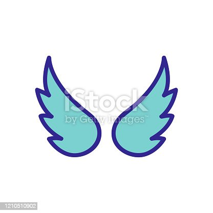 istock Wings of the angel icon vector. Isolated contour symbol illustration 1210510902