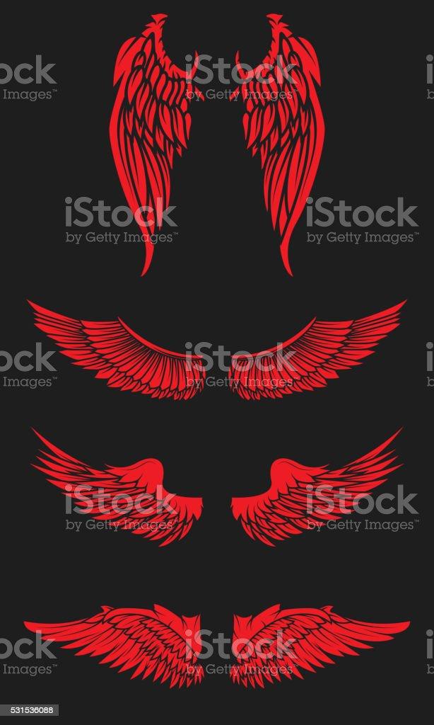 Wings set isolated on dark background. Design element for emblem vector art illustration