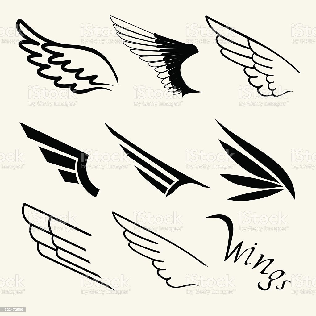 Wings set on white background, vector vector art illustration
